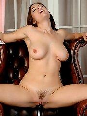 Big tits British babe Rebekah Dee dildo fucks her pussy hole